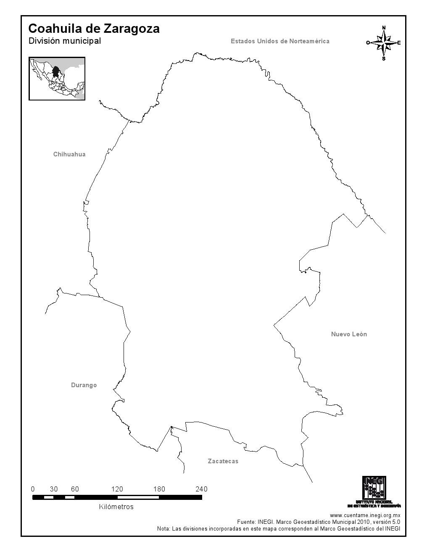 Mapa mudo de Coahuila de Zaragoza. INEGI de México