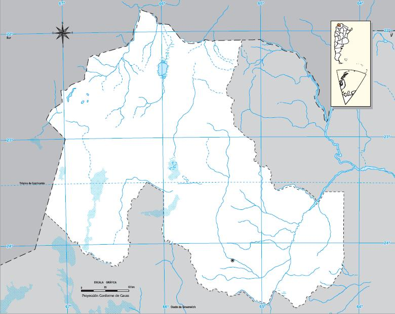 Mapa mudo de Jujuy. IGN de Argentina