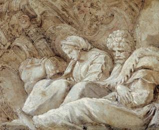 Dos prisioneros bárbaros sentados ante un trofeo de guerra