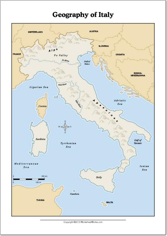 Mapa de ríos y montañas de Italia. WorksheetWorks