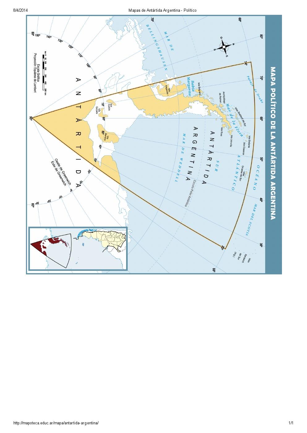 Mapa político de la Antártida Argentina. Mapoteca de Educ.ar