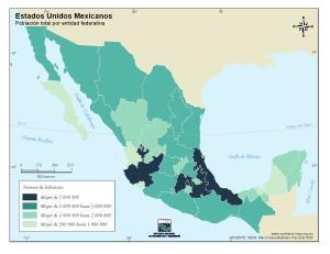 Mapa de población de México. INEGI de México