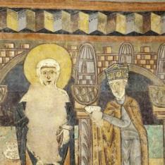 La Adoración de un Rey Mago. Pintura mural de la Iglesia de la Vera Cruz de Maderuelo.