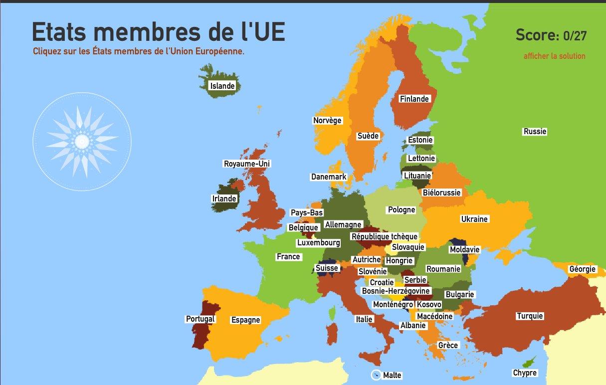 Etats membres de l'Union Européenne. Toporopa