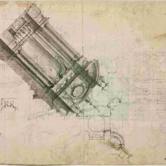 Sección longitudinal del proyecto de Filippo Juvarra para la escalera del Palacio Real de Madrid