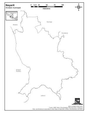 Mapa mudo de Nayarit. INEGI de México