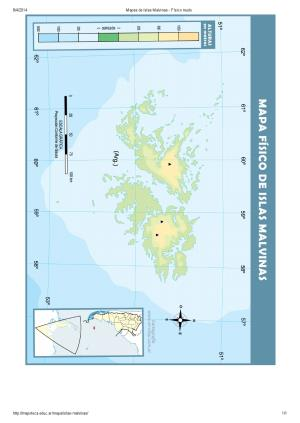 Mapa mudo de relieve de las Islas Malvinas. Mapoteca de Educ.ar