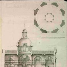 Sección longitudinal y planta de la cúpula del Monasterio de la Visitación (Salesas Reales) en Madrid