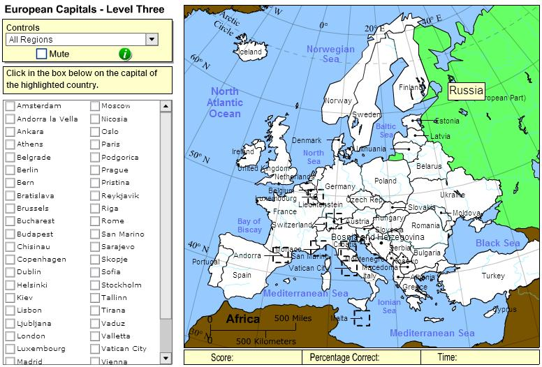 Capitals of Europe. Expert. Sheppard Software