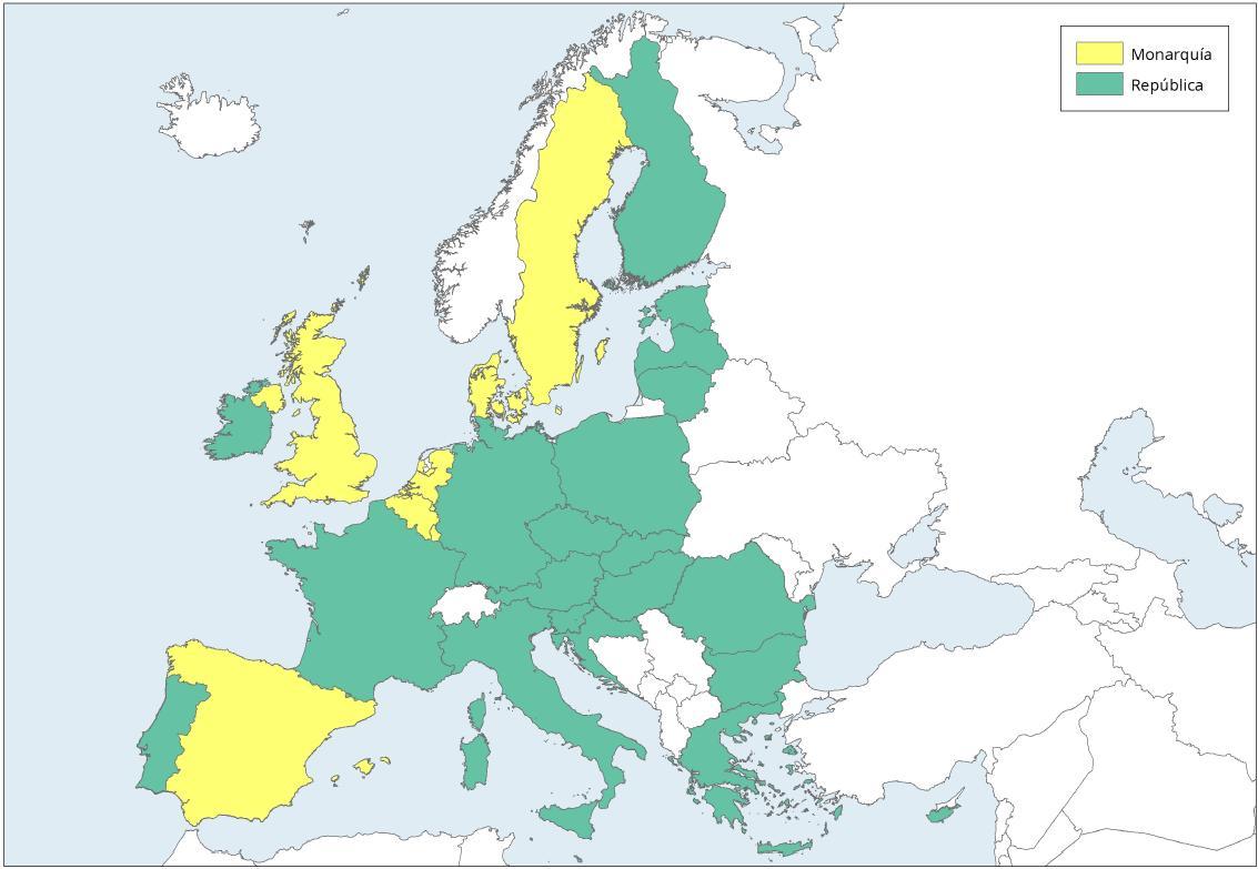 Mapa de Europa: Sistemas políticos actuales en la UE. Learn Europe