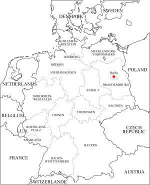 Mapa de estados federales de Alemania. Freemap