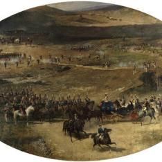 La reina María Cristina pasando revista a las tropas