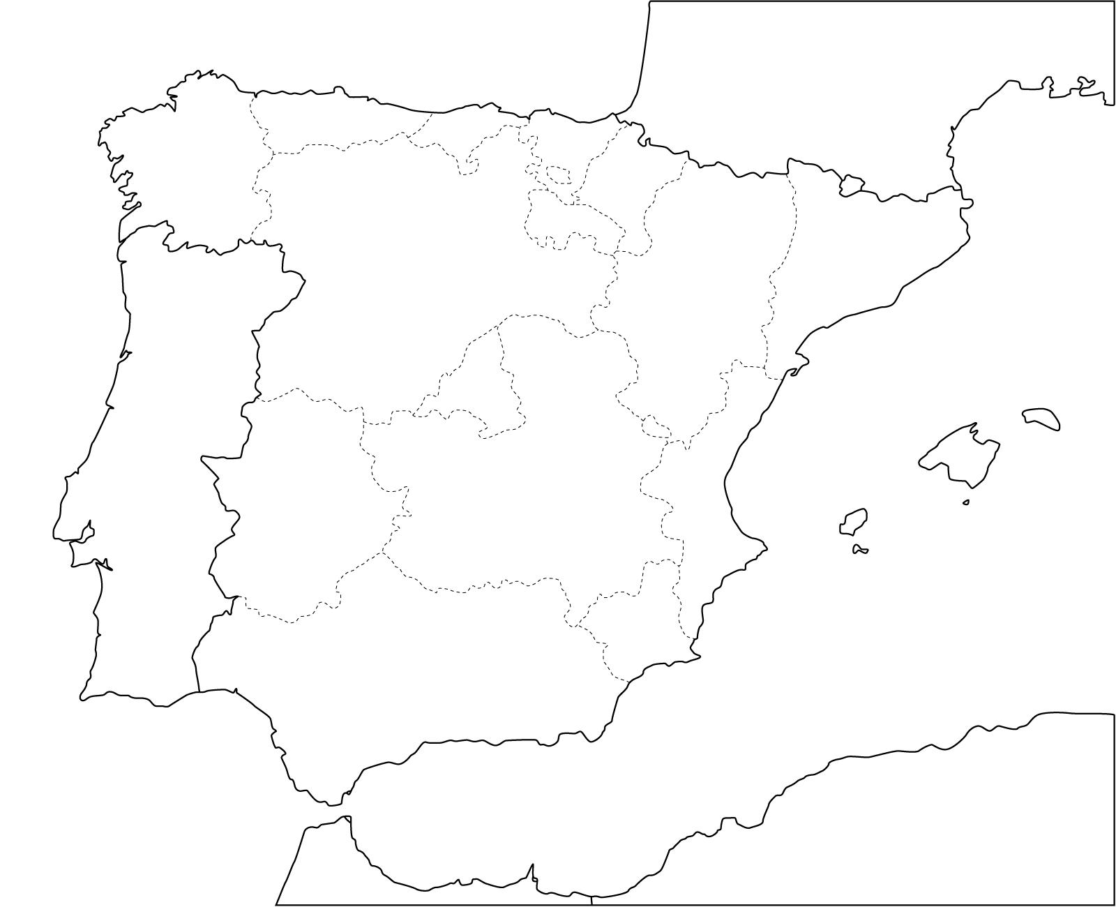 Mapa político mudo de España para imprimir Mapa de comunidades
