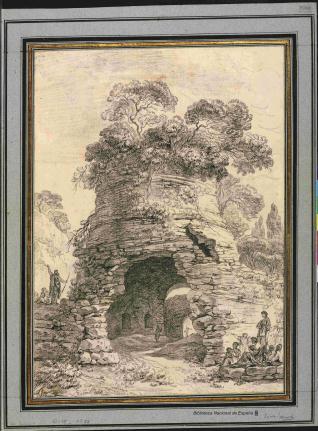 Vista de la tumba de Virgilio cerca de la gruta de Posilipo, próxima a Nápoles