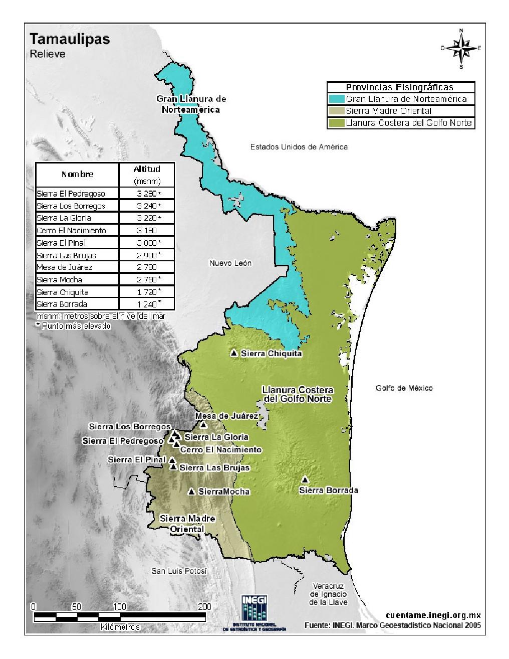 Mapa en color de montañas de Tamaulipas. INEGI de México