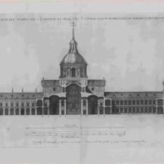 Cuarto Diseño, Sección transversal del templo, del patio del palacio y del Patio de los Evangelistas