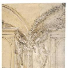 """""""Alzado arquitectónico de un interior, con dos triforios y parte de una bóveda; putti con guirnaldas de frutas y efigies de San Miguel y de la Virgen Anunciada"""""""
