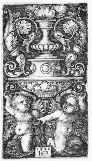 Ornamento con copa y dos genios