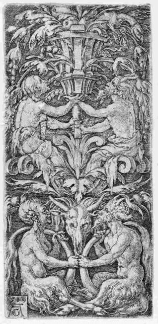 Ornamento con cuatro sátiros