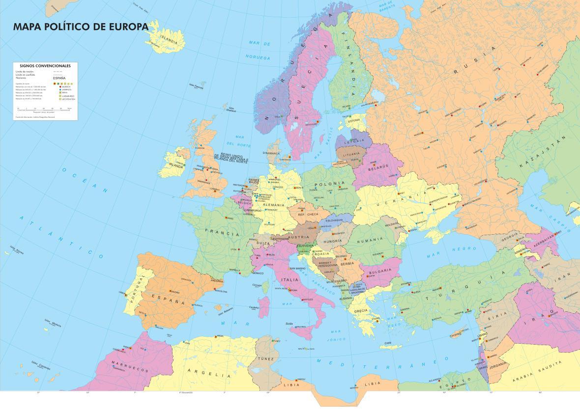 Mapa De Europa Paises Y Capitales En Español.Mapa Politico De Europa Mapa De Paises Y Capitales De Europa