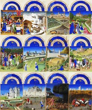 """Calendario del manuscrito iluminado: """"Las muy ricas horas del Duque de Berry"""""""