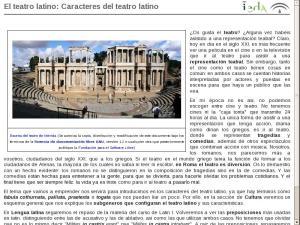 El teatro latino: Caracteres del teatro latino