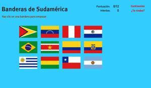 Banderas de Sudamérica. Juegos de Geografía