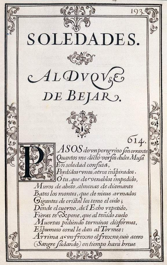 Portada original de Las Soledades, 1613