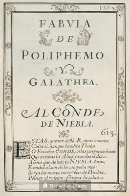 Portada original de Polifemo y Galatea, 1612