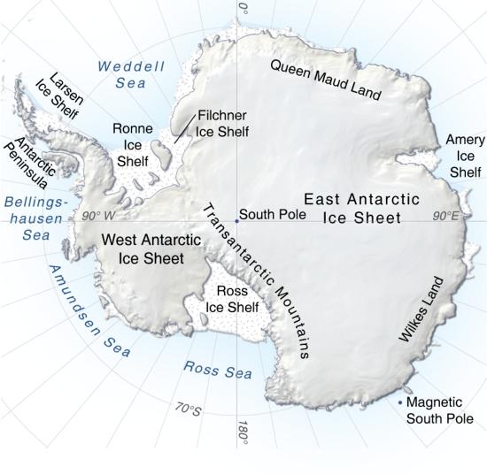 Mapa físico de la Antártida. GRID-Arendal