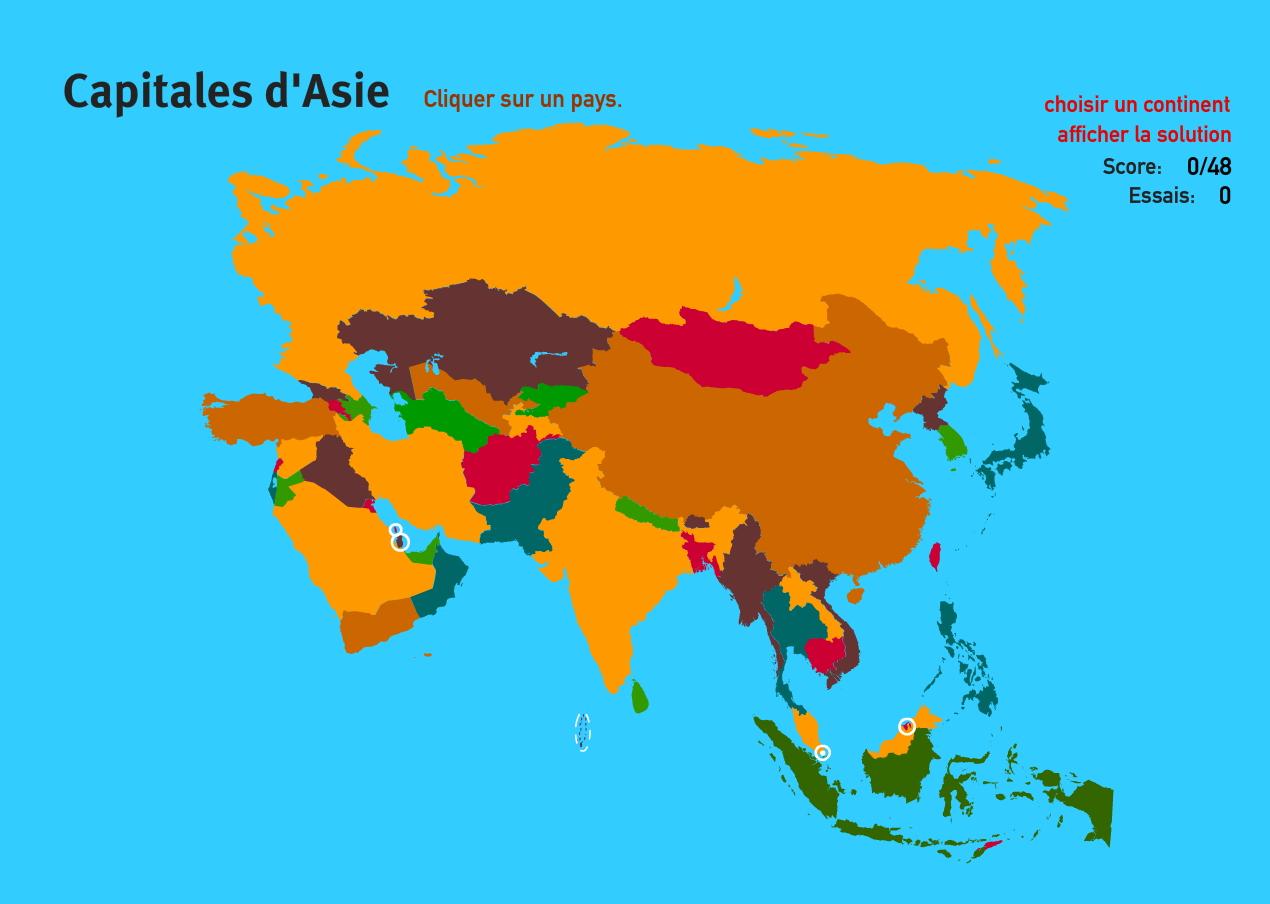 Capitales d'Asie. Jeux de Géographie