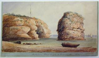 Vista de la costa en Exmouth (?), Inglaterra