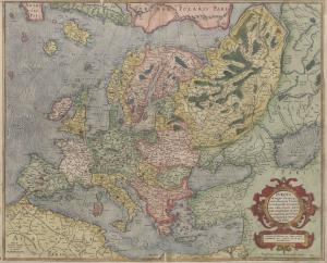 Mapa de Europa realizado por Mercator en 1589