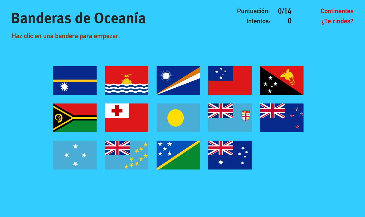 Banderas de Oceanía. Juegos de Geografía
