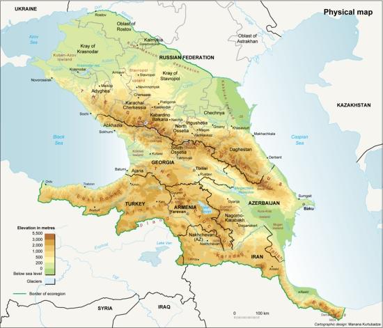 Mapa físico del Cáucaso. Grid-Arendal
