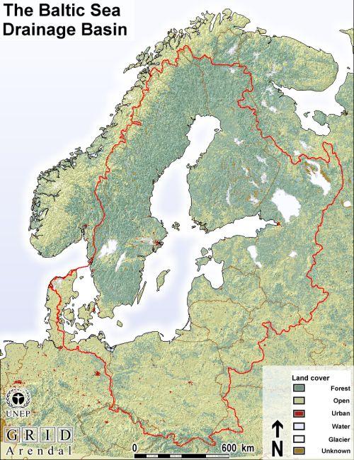 Mapa de relieve del mar Báltico. GRID-Arendal