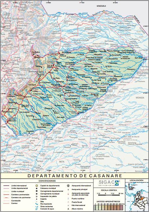 Mapa físico de Casanare (Colombia). IGAC
