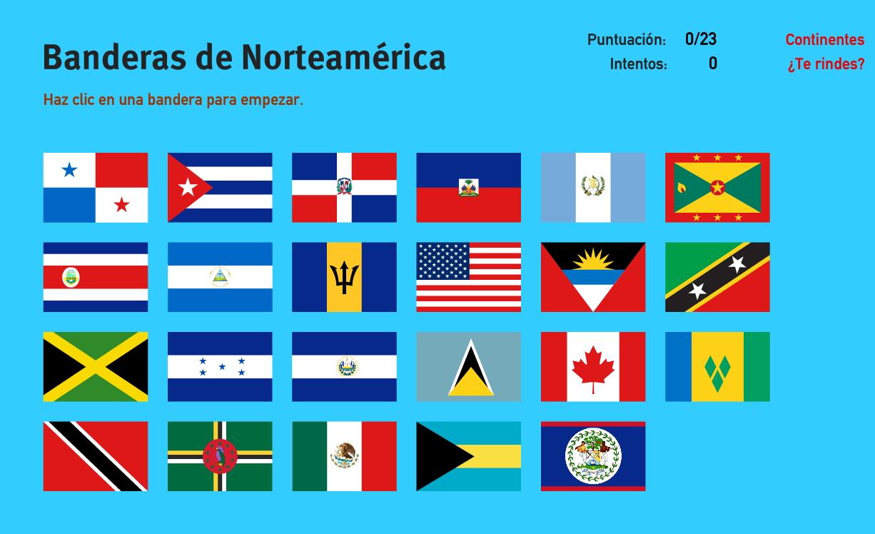 Banderas de América del Norte. Juegos de Geografía