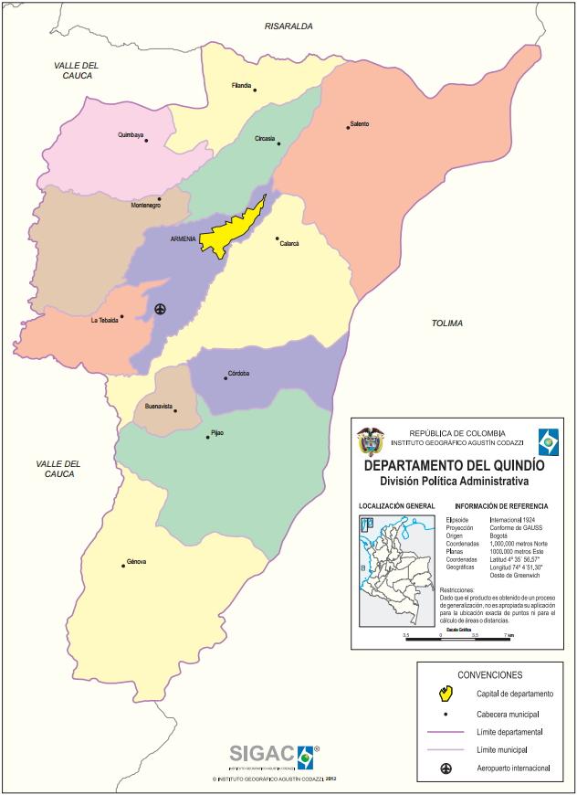 Mapa político de Quindío (Colombia). IGAC