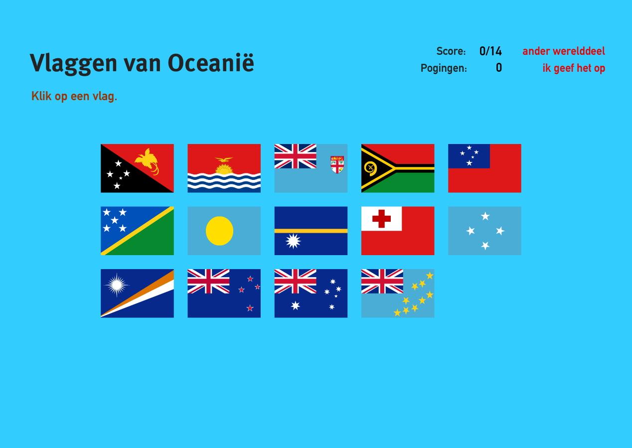 Vlaggen van Oceanië. Topo Wereld