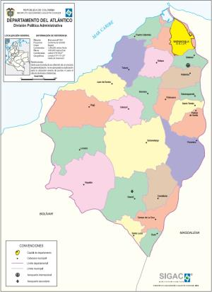 Mapa político de Atlántico (Colombia). IGAC