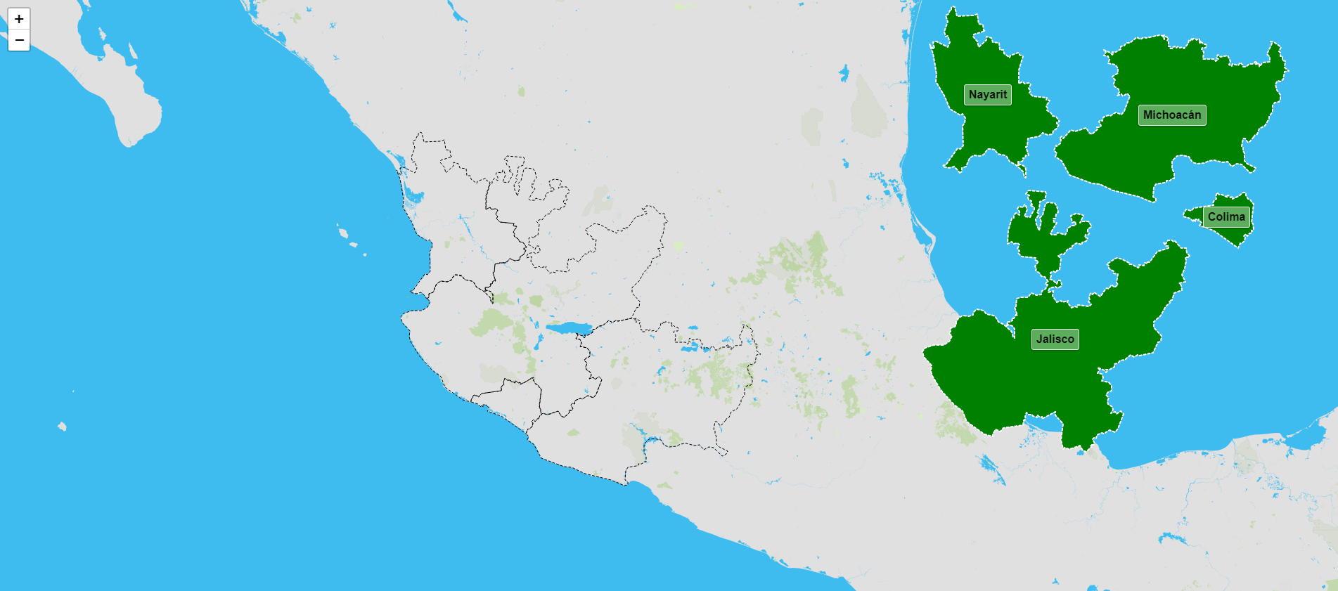Estados de la región occidental de México