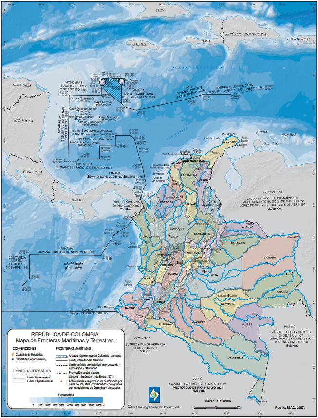 Mapa de fronteras marítimas y terrestres de Colombia. IGAC