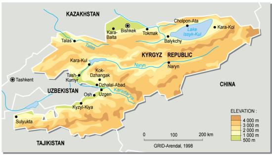 Mapa físico de Kirguistán. GRID-Arendal