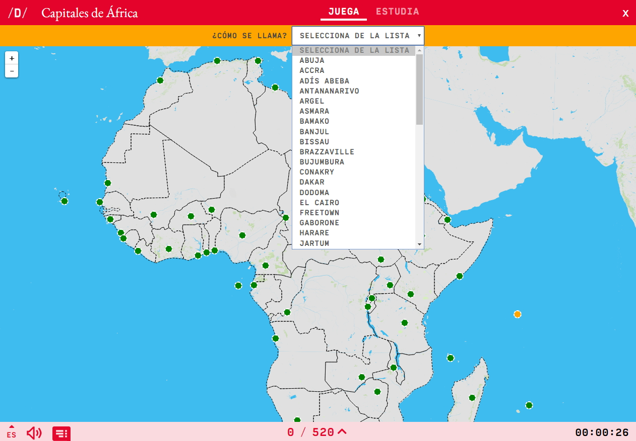 Interactive map. What's the name? Capitals of Africa   Mapas