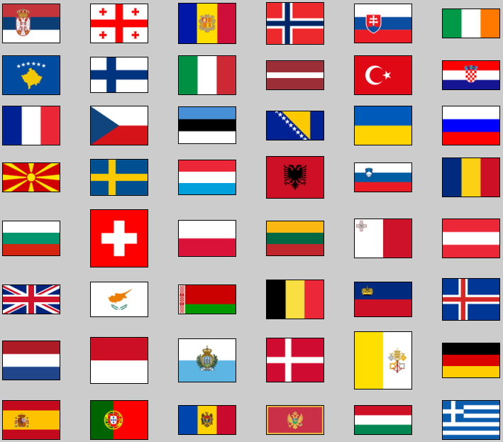 Flags of Europe. Lizard Point