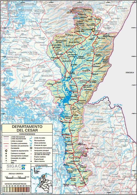Mapa físico de Cesar (Colombia). IGAC
