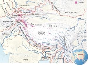 Mapa físico del Himalaya. GRID-Arendal