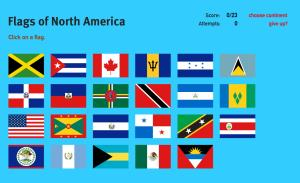 Flags of North America. World Geography Games