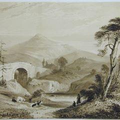 Paisaje con pastores junto a un río